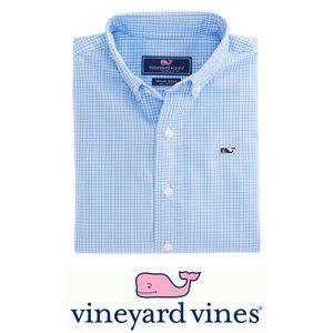 VINEYARD VINES Boys Stowaway Plaid Whale Shirt